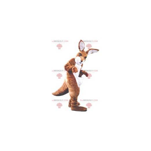 Brązowy i biały kangur maskotka - Redbrokoly.com