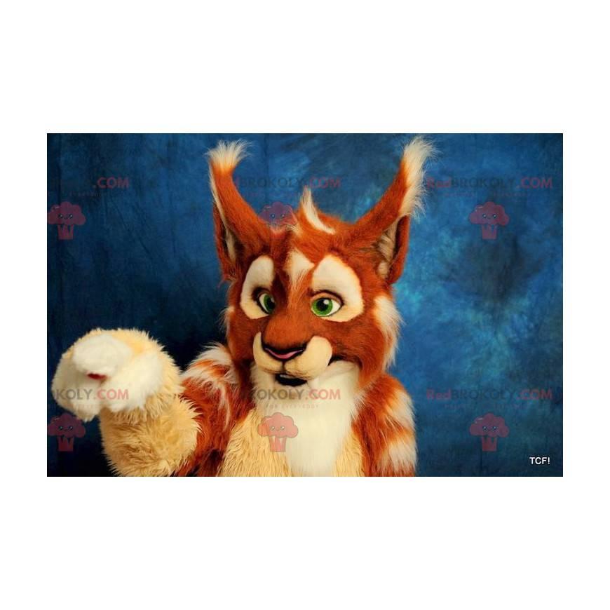 Orange beige und weißer Luchs Maskottchen - Redbrokoly.com