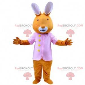 Maskot oranžového králíka s růžovým sakem, velikonoční kostým -