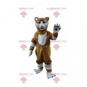 Brown and white cat mascot, realistic cat costume -