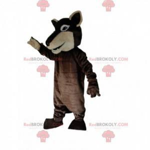 Zweifarbiges braunes Wolfsmaskottchen, Hundekostüm, Wolfshund -