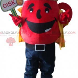 Gigantisk rød tekanne maskot, te kostyme, tesalong -