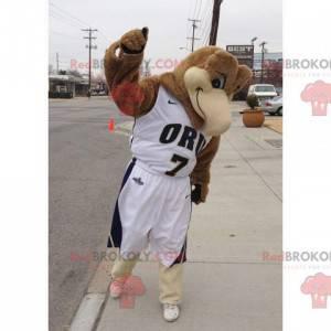 Hnědý pták maskot ve sportovním oblečení - Redbrokoly.com