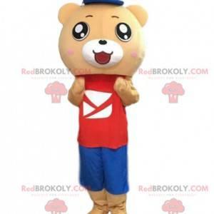 Beige farget bamse kostyme i fargerikt antrekk - Redbrokoly.com