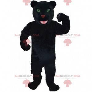 Maskot černý panter, kočičí kostým, černá kočkovitá šelma -
