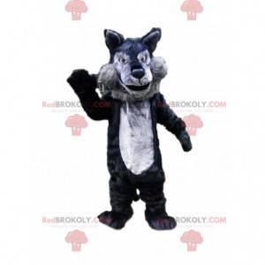 Grå og svart ulvemaskot, ulvdrakt, vilt dyr - Redbrokoly.com