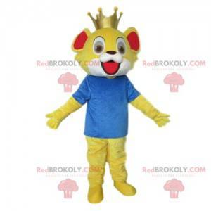 Lille løve maskot, løveunge kostyme, gul forkledning -