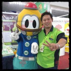Mascotte de scaphandrier jaune et bleu - Redbrokoly.com