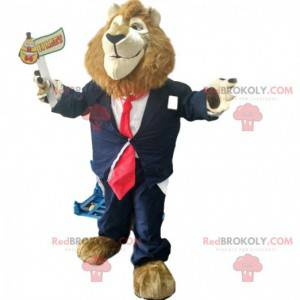 Lion mascot with a tie suit, classy disguise - Redbrokoly.com