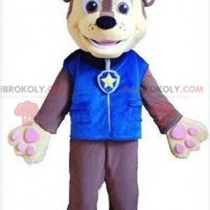 Maskot psa oblečený jako policista, kostým policisty -