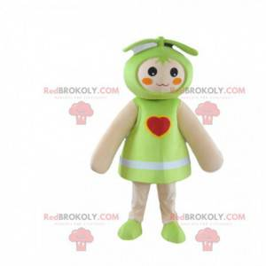 Doll mascot, green baby costume with a heart - Redbrokoly.com