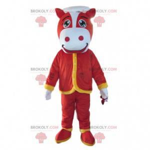 Rotes Pferdemaskottchen, Kuhkostüm, rotes Kostüm -