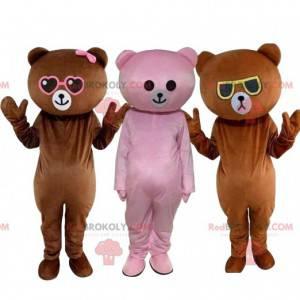 3 barevní maskoti plyšového medvídka, kostým medvěda, plyšové