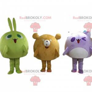 3 mascots, a rabbit, a bear and a cat, colorful and cute -