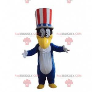 Entenmaskottchen mit amerikanischem Hut, Patriotenkostüm -
