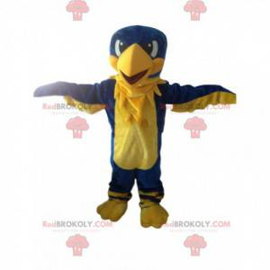 Maskot žlutý a modrý orel, obří pták, barevný sup -