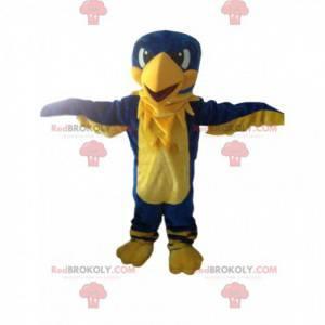 Maskott gul og blå ørn, gigantisk fugl, fargerik gribb -