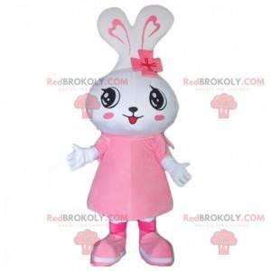 Maskot bílého králíka, kostým králíka, ženský převlek -