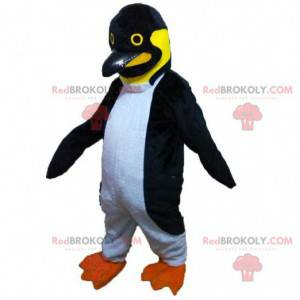 Maskot černé, bílé a žluté tučňáky, kostým tučňáka -