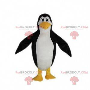 Czarno-biało-żółta maskotka pingwina, kostium pingwina -