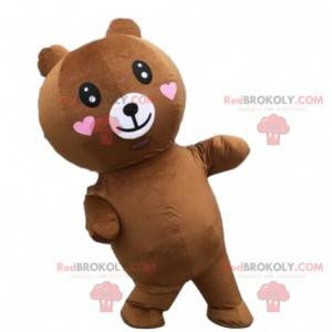 Nafukovací medvídek maskot se srdíčky, nafukovací kostým -