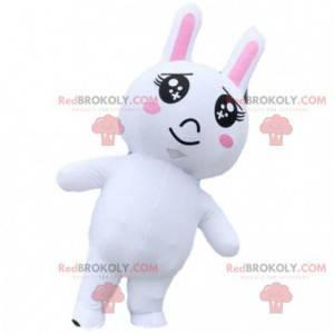 Aufblasbares weißes Kaninchen-Maskottchen, aufblasbares Kostüm