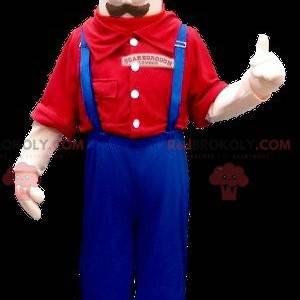 Maskotka wąsaty mężczyzna w kombinezonie - Redbrokoly.com