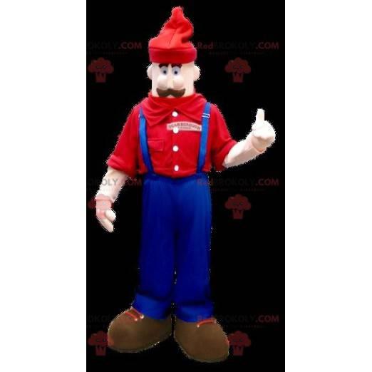 Maskottchen Schnurrbart Mann in Overalls - Redbrokoly.com
