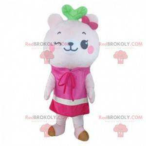 White teddy bear mascot, pink teddy bear costume -