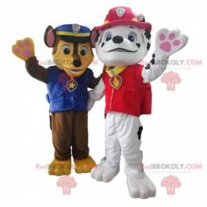Polizeihund und Feuerwehrmann dalmatinische Maskottchen -