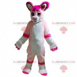 Hvit og rosa hundemaskot, kvinnelig hundedrakt - Redbrokoly.com