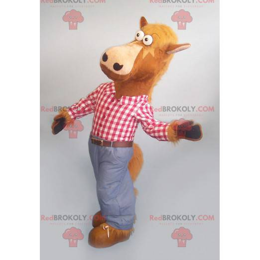 Brown horse mascot with a plaid shirt and jeans - Redbrokoly.com