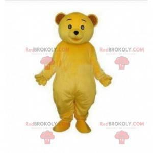 Maskot žlutý medvídek, kostým plyšového žlutého medvídka -