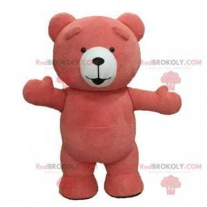 Maskot růžového medvídka, kostým plyšového růžového medvěda -