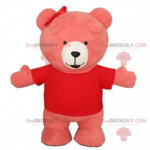 Růžový nafukovací maskot medvěda, kostým obřího medvídka -