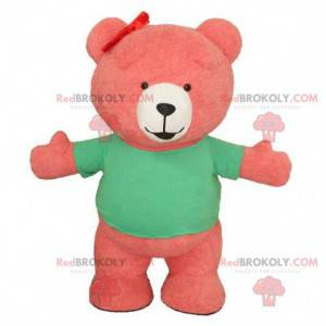 Pink inflatable bear mascot, giant teddy bear costume -
