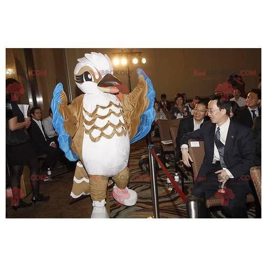 Brown white and blue bird mascot - Redbrokoly.com