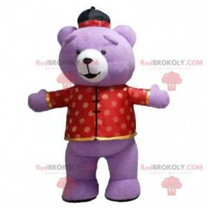 Maskot fialového medvěda v asijském oblečení, nafukovací kostým
