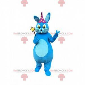 Maskot modrý králík s kouzelnou hůlkou, kouzelnický kostým -