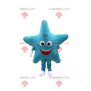 Mascote estrela do mar, fantasia de estrela azul gigante -