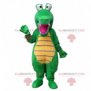 Zelený a žlutý krokodýlí maskot, aligátorský kostým -
