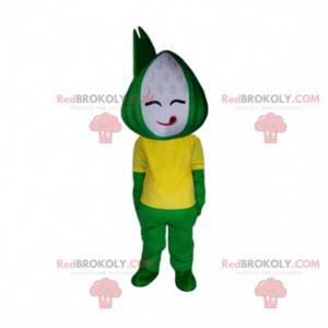 Green and yellow snowman mascot, Chinese dish costume -