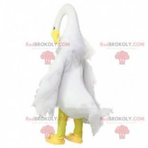 Schwanenmaskottchen, Vogelkostüm, großer weißer Vogel -