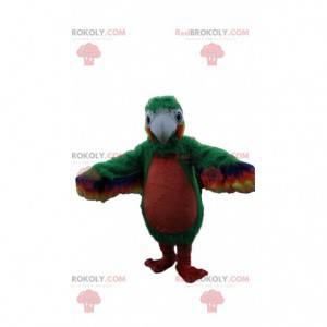 Maskot zelený a červený papoušek, kostým exotického ptáka -