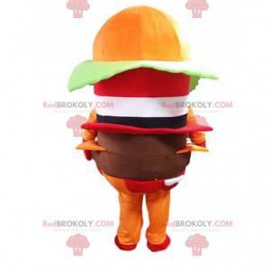Maskot hamburger, kostým rychlého občerstvení, obří hamburger -