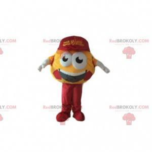Maskot žlutý fotbalový míč, kulatý kostým příznivce -