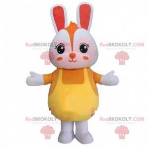 Mascotte coniglio, costume coniglio bianco, coniglio peluche -