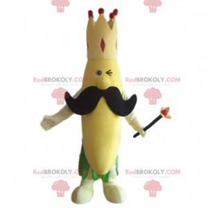 Banánový maskot s korunou a velkým knírem - Redbrokoly.com