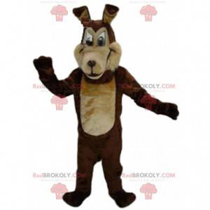 Dwukolorowa brązowa maskotka wilk, kostium psa, pies wilk -