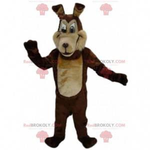 Two-tone brown wolf mascot, dog costume, wolf dog -